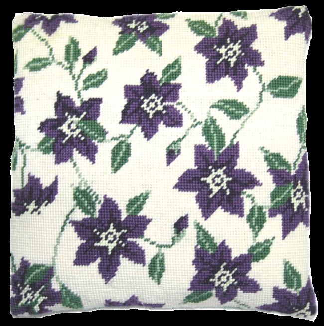 Needlepoint Pillow Kit Purple Clematis