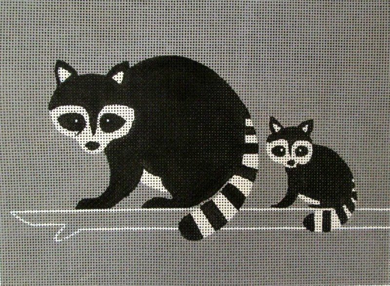 Racoons Needlepoint<BR>By Anna See