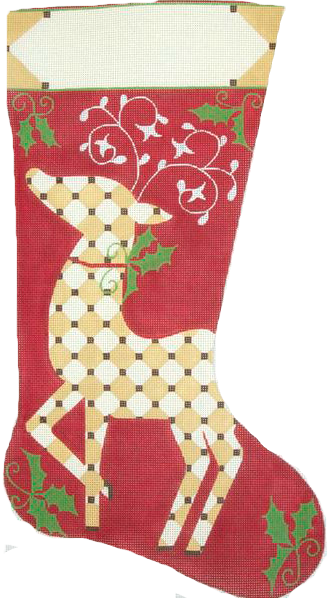 Reindeer on Red Needlepoint Stocking