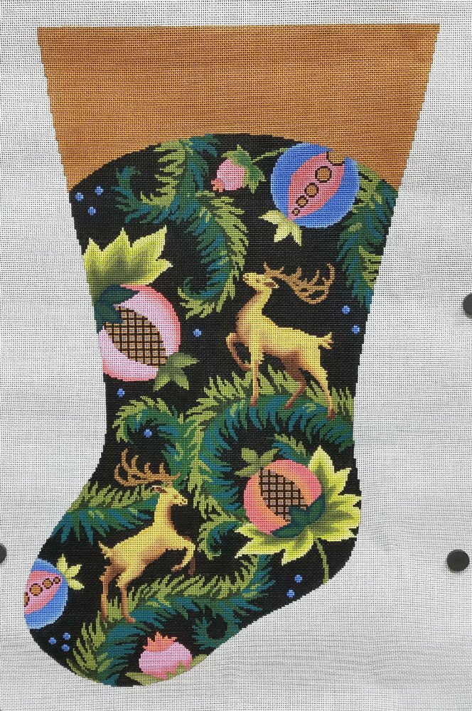 Needlepoint Christmas Stocking Royal Stag - in stock