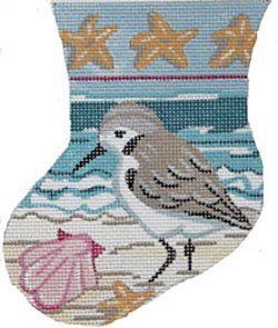Sandpiper with Shells mini needlepoint stocking - in stock