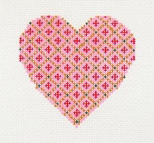 Sandra Gilmore Needlepoint<BR>Heart Ornament