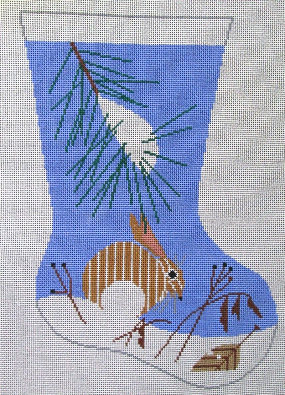 Charley Harper Needlepoint Stocking Snow Bunny