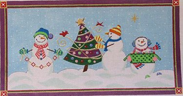 Trio of Snowmen Decorate the Tree - in stock