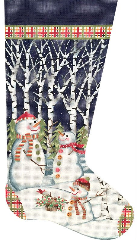 Snowmen in Trees Needlepoint Stocking