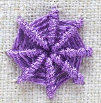 Spider web needlepoint stitch