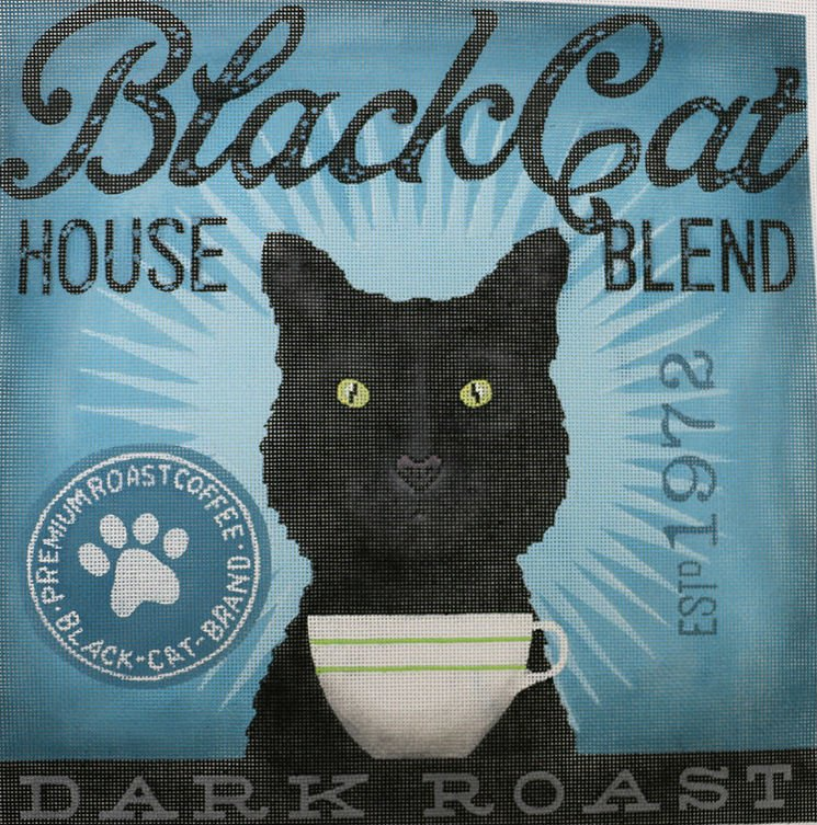 Black Cat Needlepoint by Stephen Fowler
