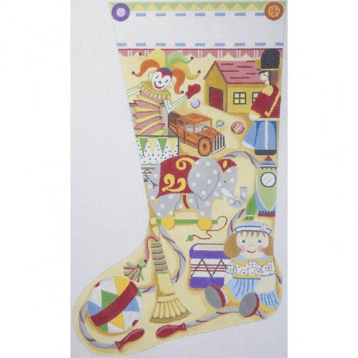 needlepoint christmas stocking antique toys