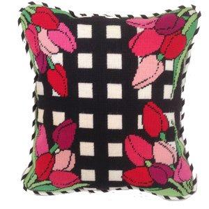 Pink Tulips Modern Needlepoint Kit by Studio Stitches