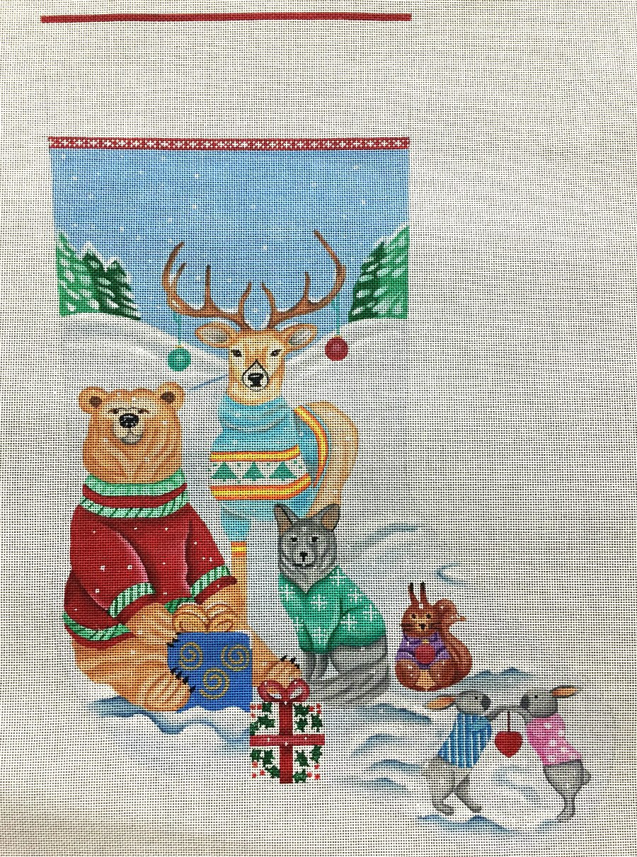 Sweater Friends Needlepoint Christmas Stocking
