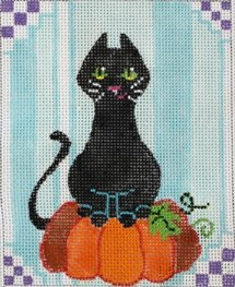 Tall Cat on Pumpkin halloween design by JulieMar