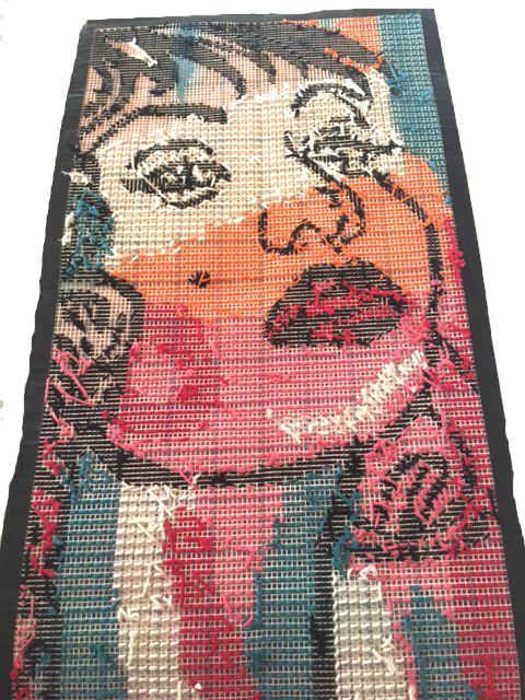 tapestry girl needlepoint art