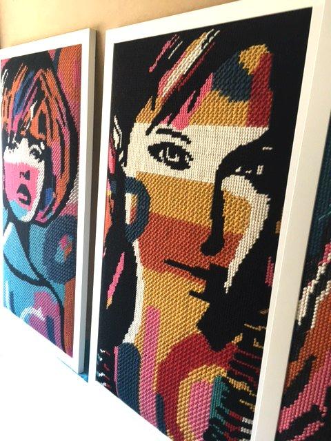 urban street art tapestry girl