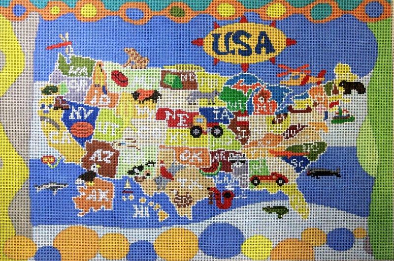 United States Map Needlepoint