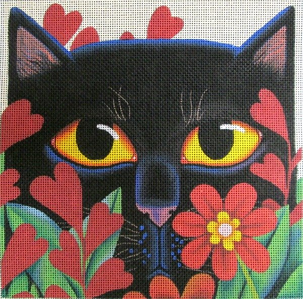 Vicky Mount Needlepoint<BR>Black Cat With Flowers