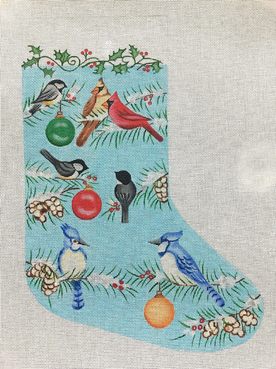 Winter Birds Needlepoint Christmas Stocking -in stock