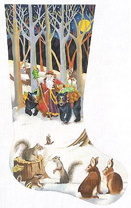 Woodland Santa Christmas Stocking - in stock