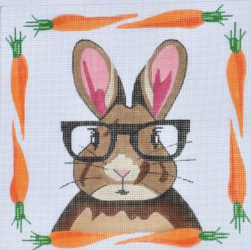 Rabbit with glasses needlepoint