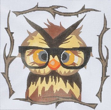 Owl with glasses needlepoint