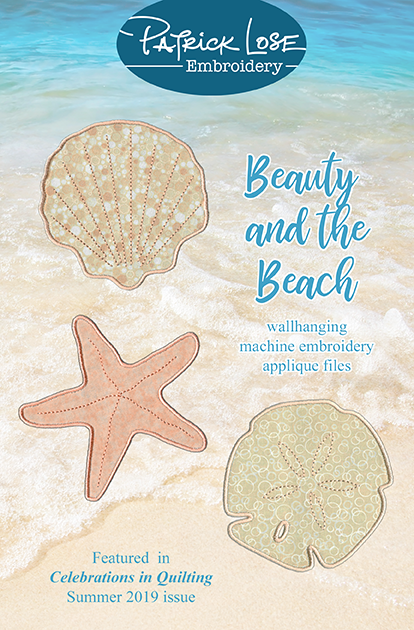 Beauty and the Beach wallhanging machine embroidery applique files