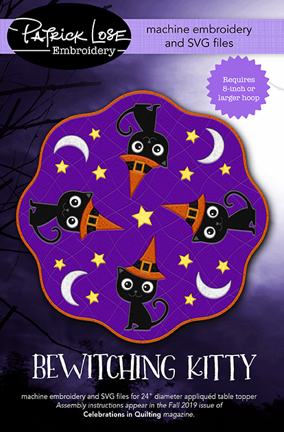 Bewitching Kitty table topper embroidery and SVG