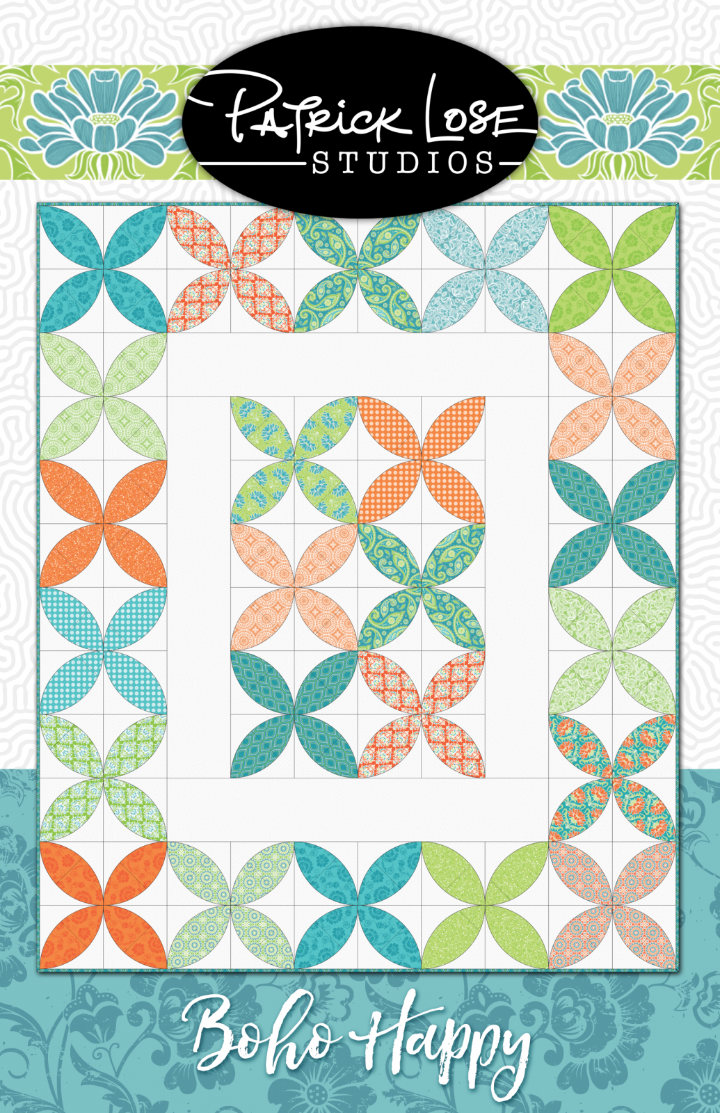Boho Happy Melon Block Template Set AND Boho Happy Quilt Pattern