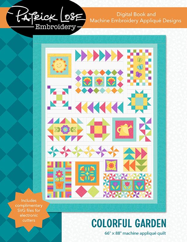 Colorful Garden DIGITAL book and machine embroidery package