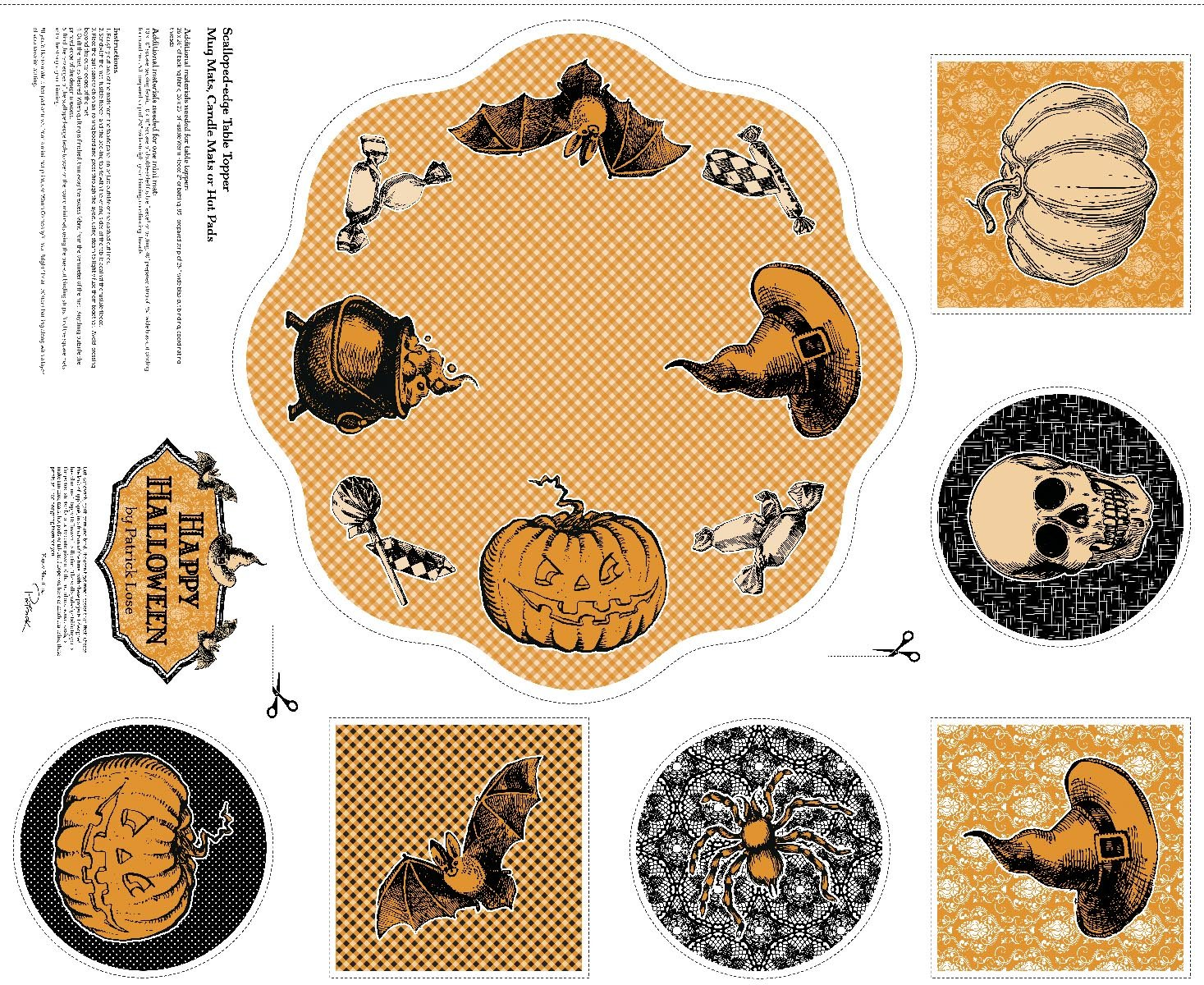 Happy Halloween/Table Topper and Mats:62520-B770715