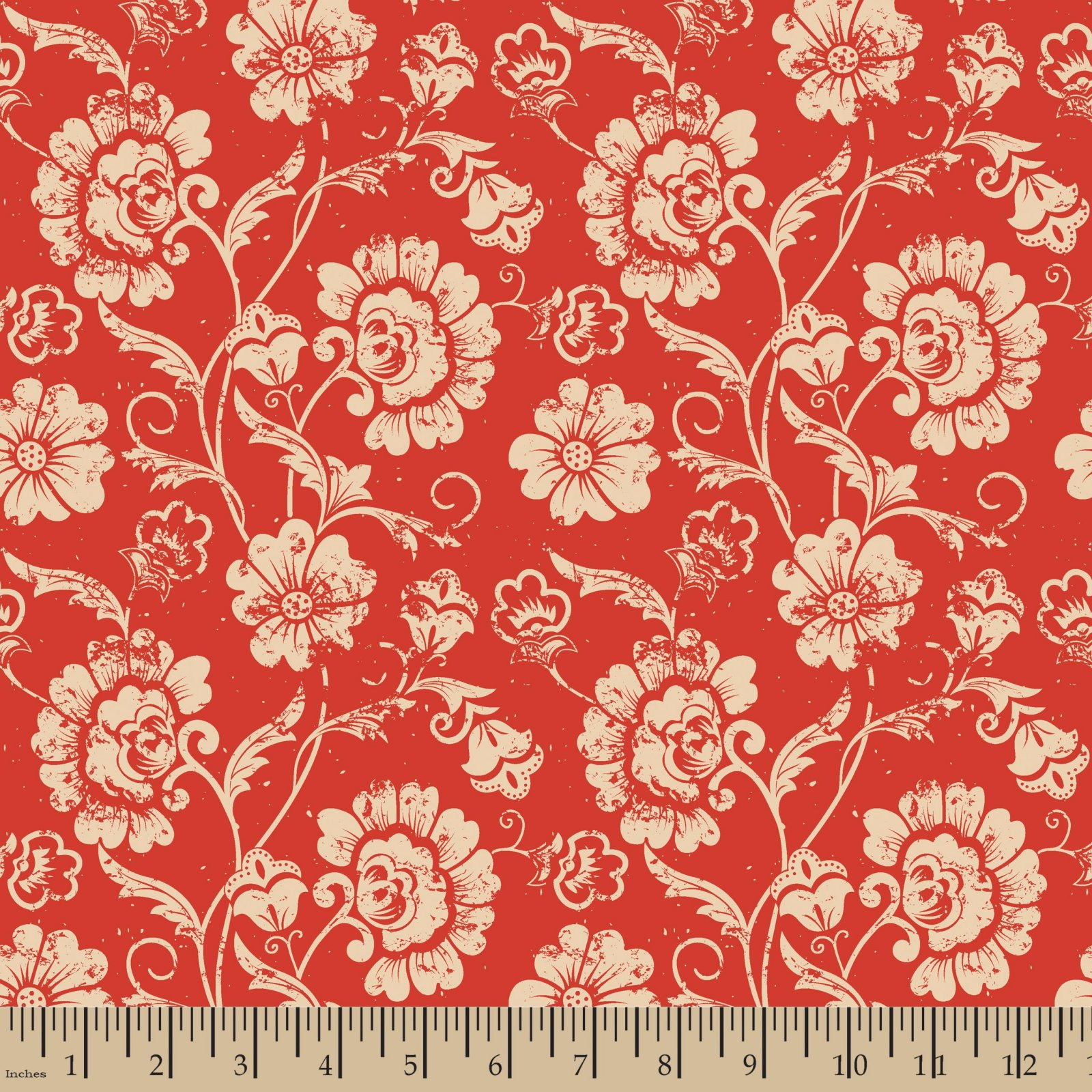 Aged Floral Red