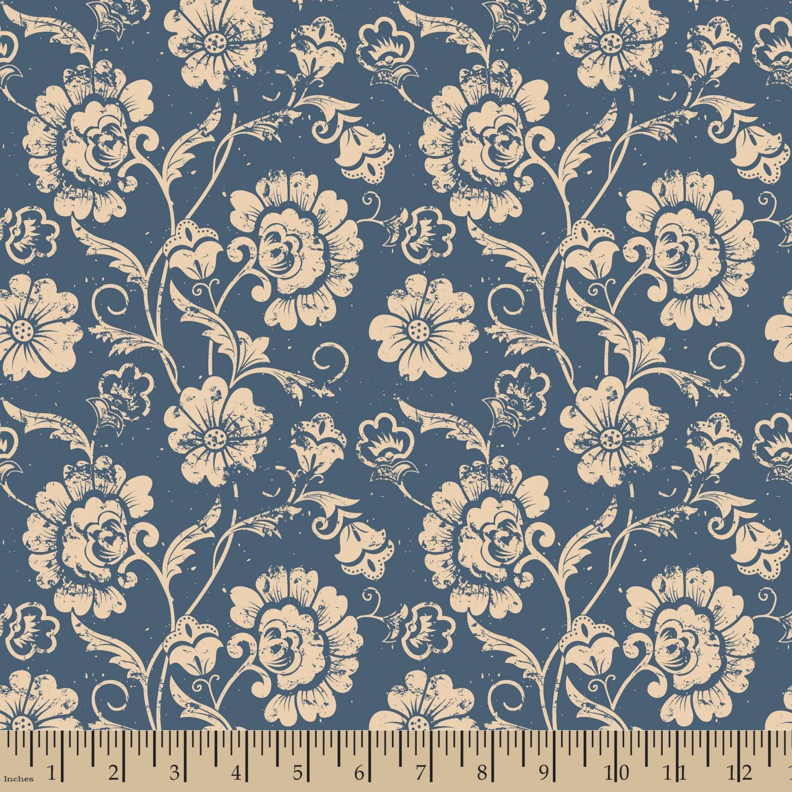 Aged Floral Blue