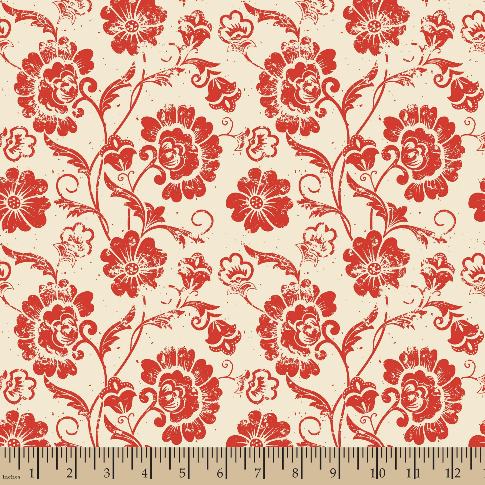 Aged Floral Red On Ivory
