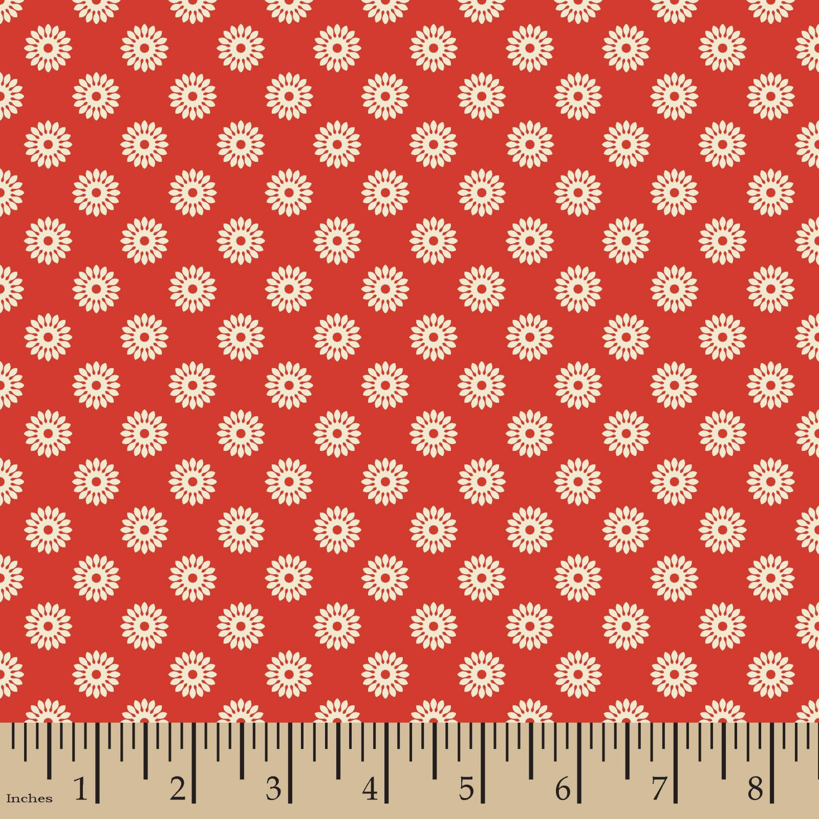 Flower Buttons Tan Red