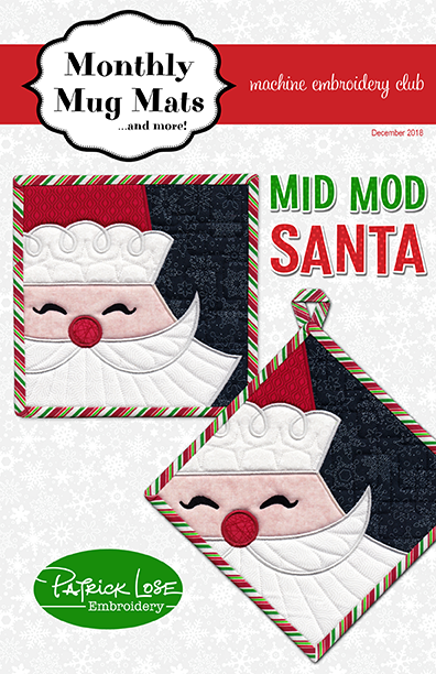 Mid Mod Santa mini mats December 2018 Monthly Mug Mats