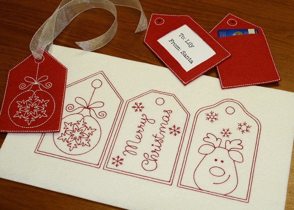 Redwork Christmas Gift Tags