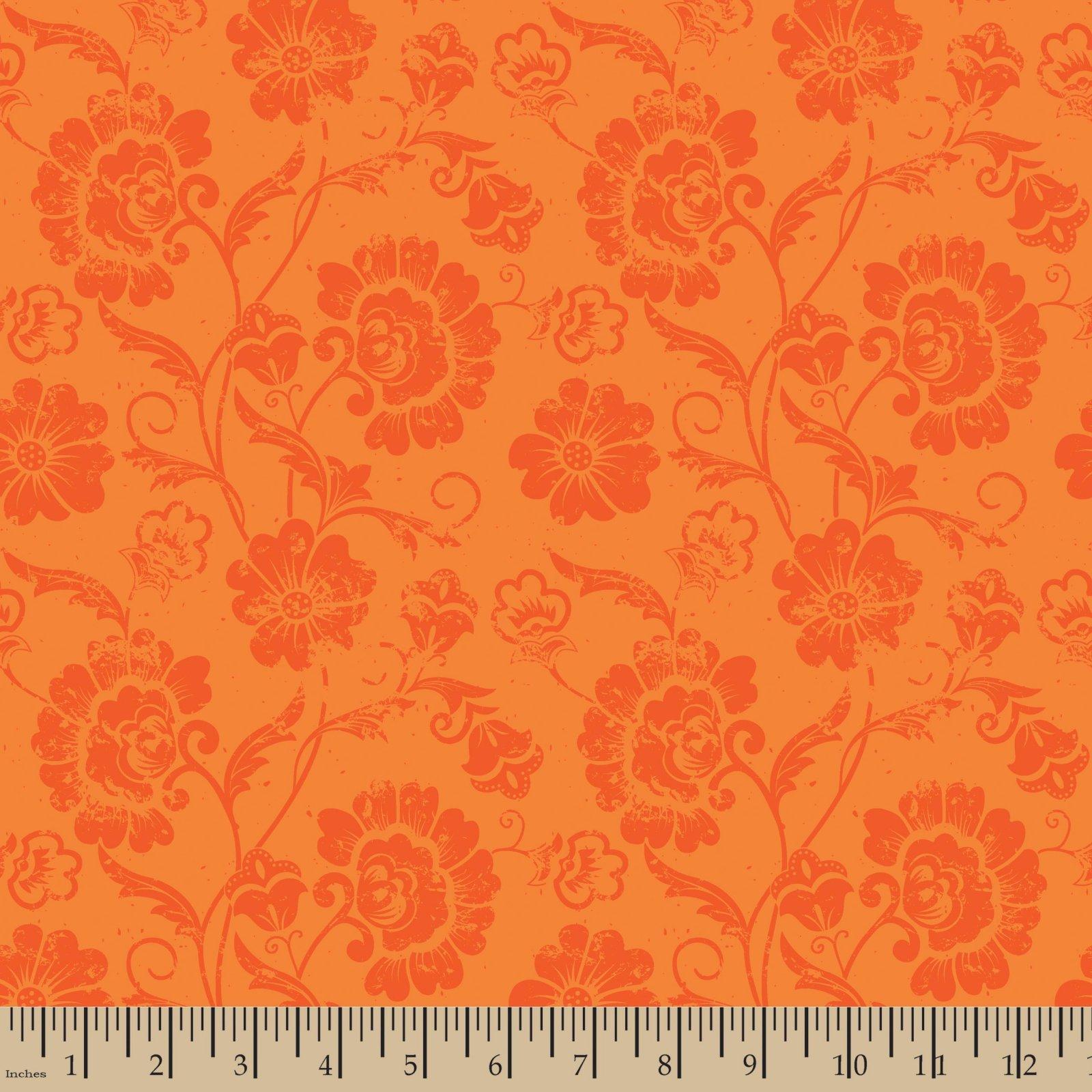 Aged Floral Orange