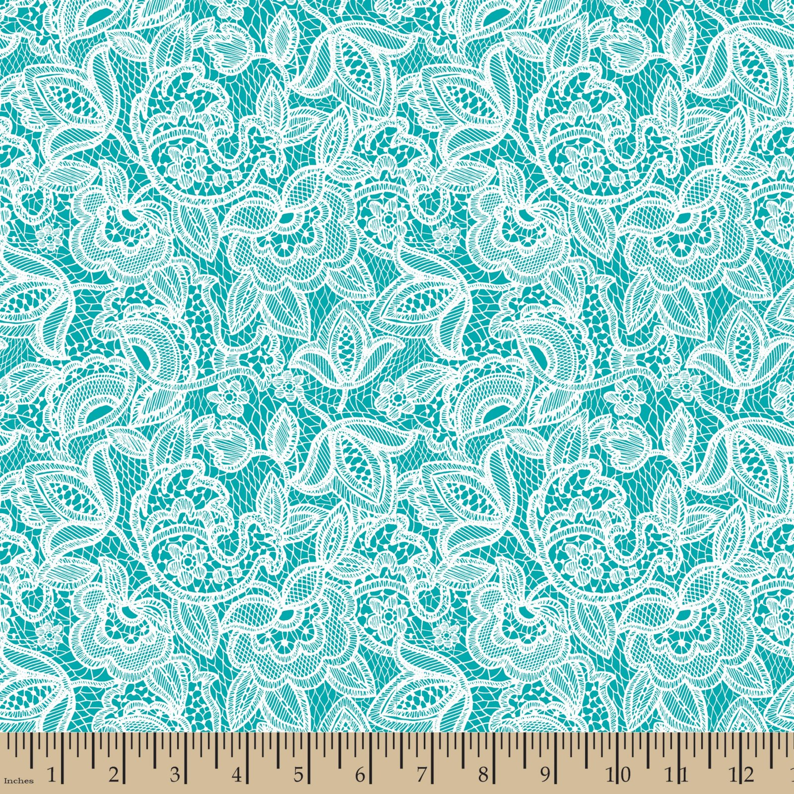 Embroidered Lace Turquoise