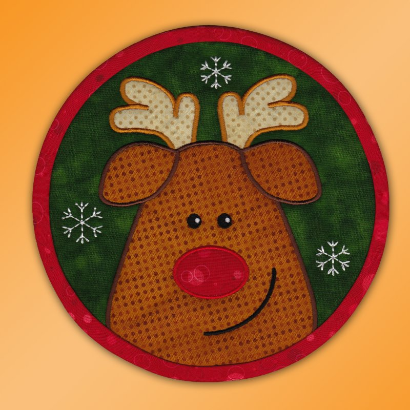 Red-nosed Rudolph machine embroidery