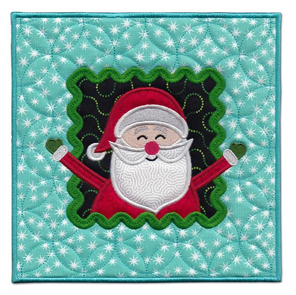 Happy Santa mini mat or hot pad