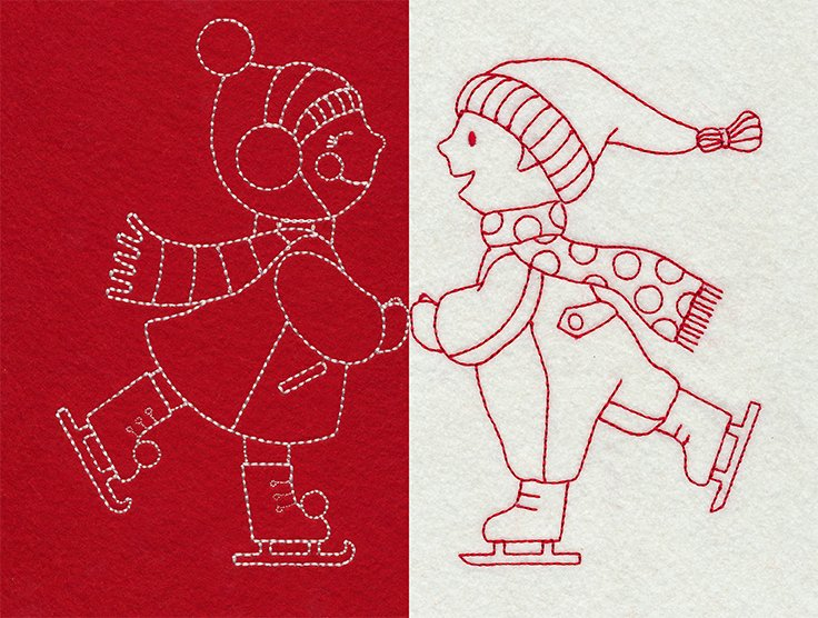 Redwork Ice Skaters