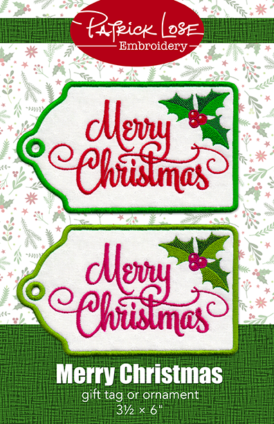 Merry Christmas gift tag or ornament