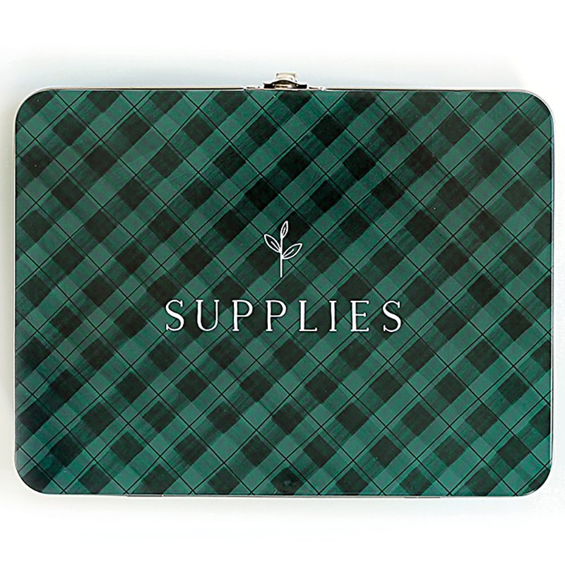 Green Gingham Lg Tin Box