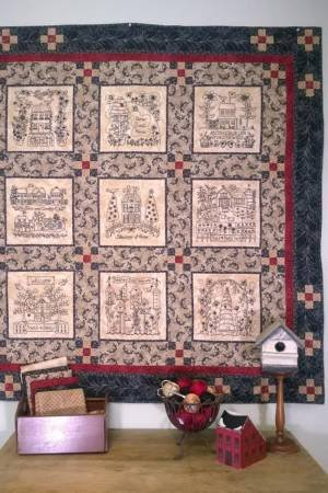 Home And Heart Blackwork Quilt