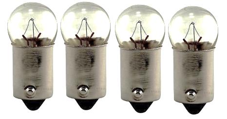 Universal Pilot Warning Bulbs 12V 3W Set of 4x 30-033