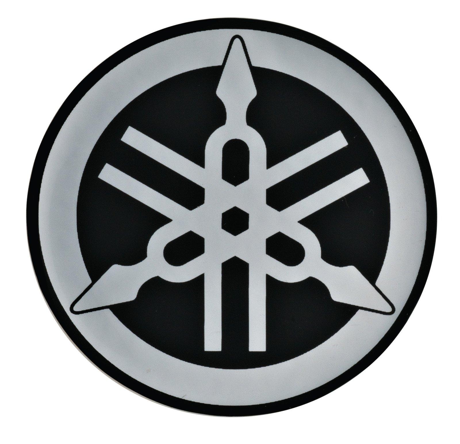 Yamaha epoxy dome diapson logo emblem decal sticker 28mm diam silver black 29165