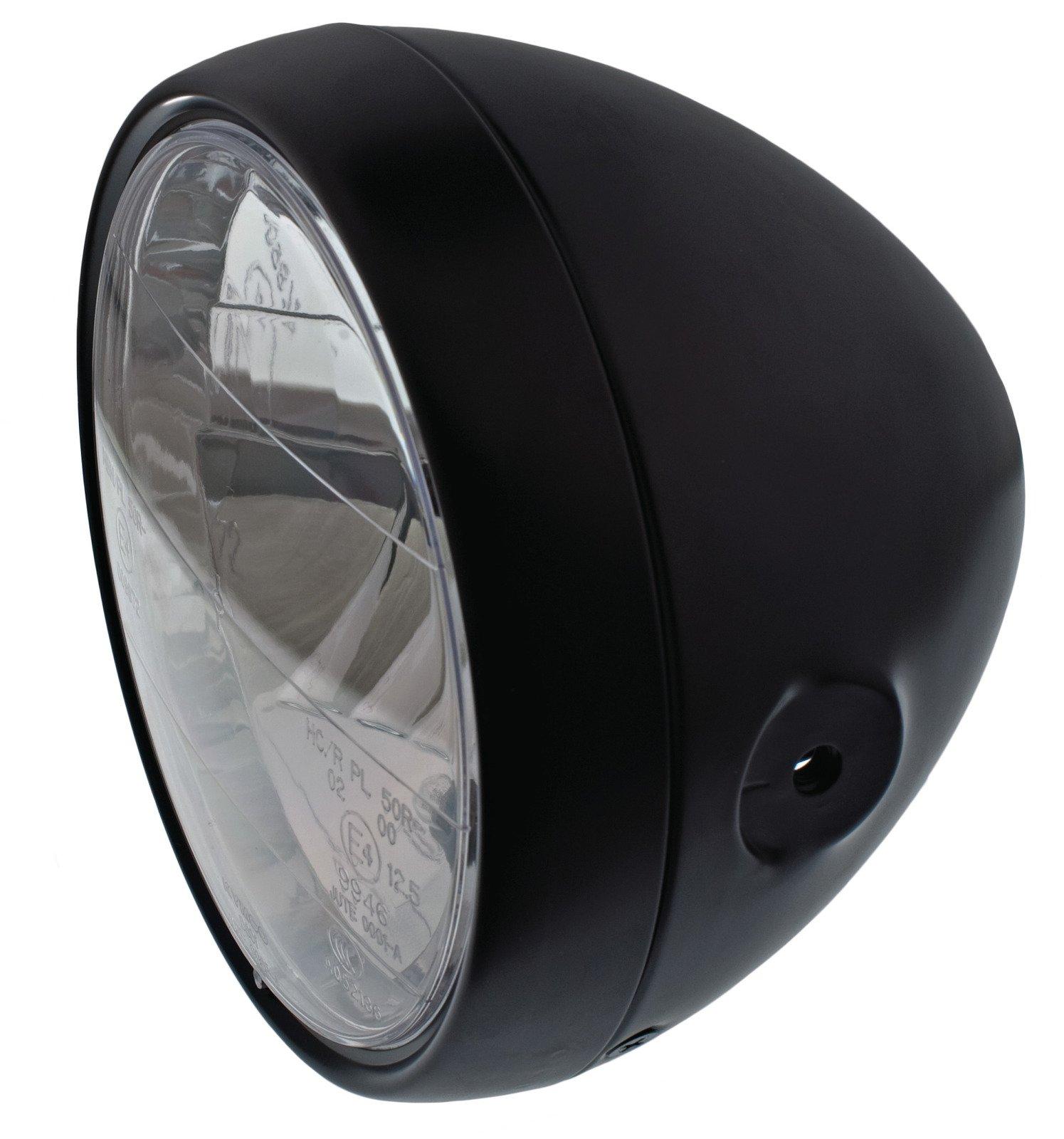 Yamaha SR500 Matt Black Café Headlight w/ Metal Housing & H4 Lens