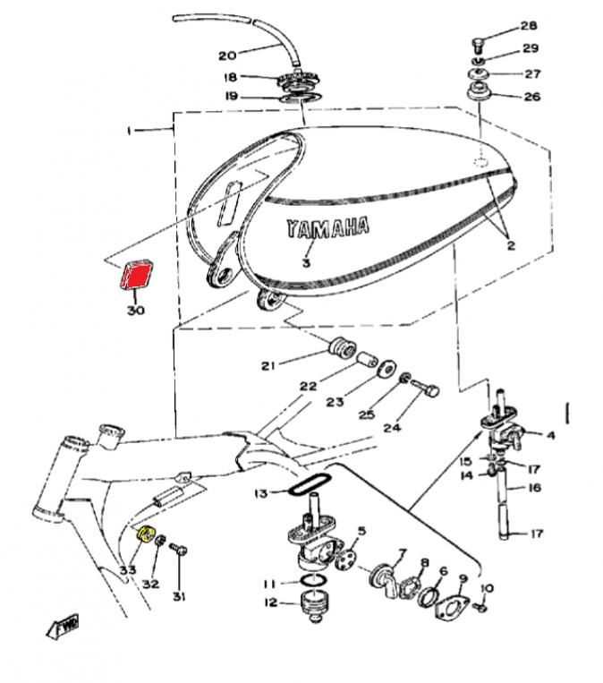 Yamaha Tt500 Xt500 Fuel Tank Damper Pad Set 2x B 058
