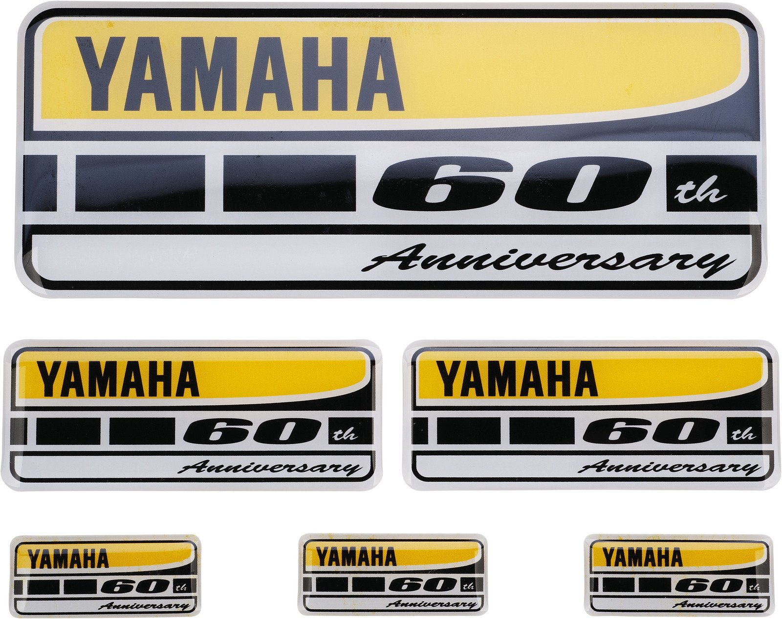 YAMAHA Sticker - Set '60th Anniversary', 6 pcs./ 3 sizes, retail packing, OEM # N15TK009Y200, 80127