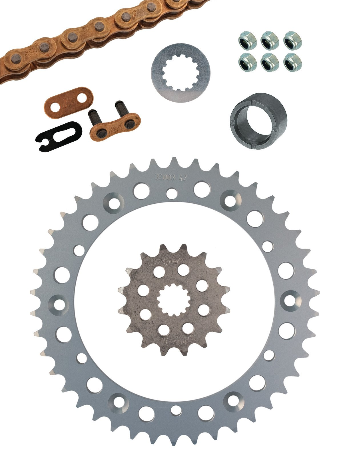 SR500 Racing Chain Kit complete with 16T Front Sprocket 42T Alu Rear Sprocket DID Racing Chain 520ERT3/102 Links + Clip Joint and Small Parts 91165