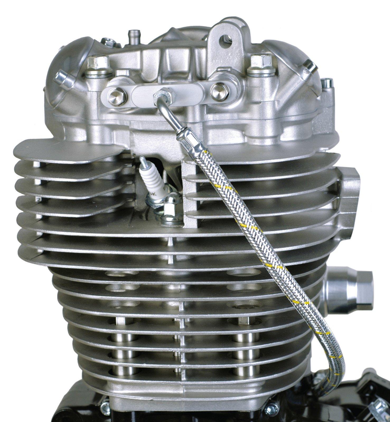 Yamaha HL500 SR400 SR500 TT500 XT500 Twin Feed Oil Line Kit - Steel Braided Silver Classic Style w/ CNC Milled Aluminum Block 19-003