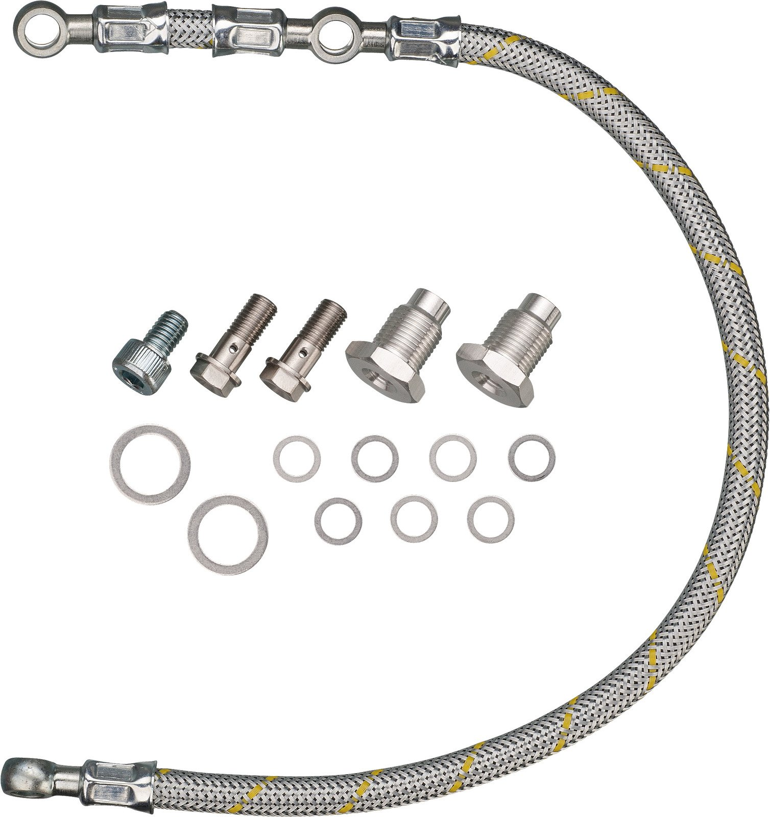 Yamaha SR400 SR500 HL500 TT500 XT500 Twin Feed Oil Line Kit - Steel Braided Silver Race Line Style  02-017